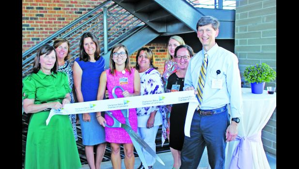 Pictured at the July 2 ribbon-cutting for three new medical practice locations at 880 Island Park Drive on Daniel Island —  Island Medical, Lowcountry OB/GYN and East Cooper GI  — are (left to right): Dr. Lisa Hunter; Amy King, NP; Dr. Stefanie Seixas-Mikelus; Dr. Melanie Blohm; Dr. Lori Ezman; Dr. Amy Warner; Dr. Rya Kaplan; and Dr. John Inman. The practices are affiliated with East Cooper Medical Center.