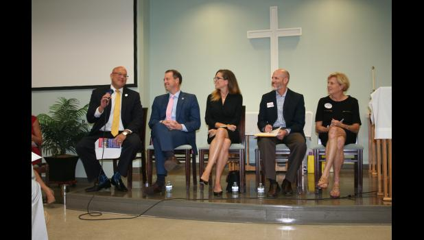 ELIZABETH BUSH S.C. House District 99 candidates (left to right) Mark Smith (R), Shawn Pinkston (R), Nancy Mace (R), Jarrod Brooks (R) and Cindy Boatwright (D) answer questions at a Daniel Island Neighborhood Association forum at Church of the Holy Cross on Nov. 7.