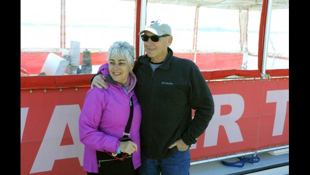 Daniel Island residents Anita and Andy Koszyk were among several community members who took part in the Daniel Island Ferry's maiden voyage on March 15. The new water taxi service will offer roundtrip service from Daniel Island to downtown Charleston beginning this year.