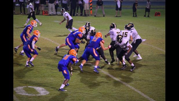 MARTHA REYNOLDS MURRAY The Hanahan Hawks put up a good fight against Manning on Sept. 30, handing the Monarchs their first loss of the season.