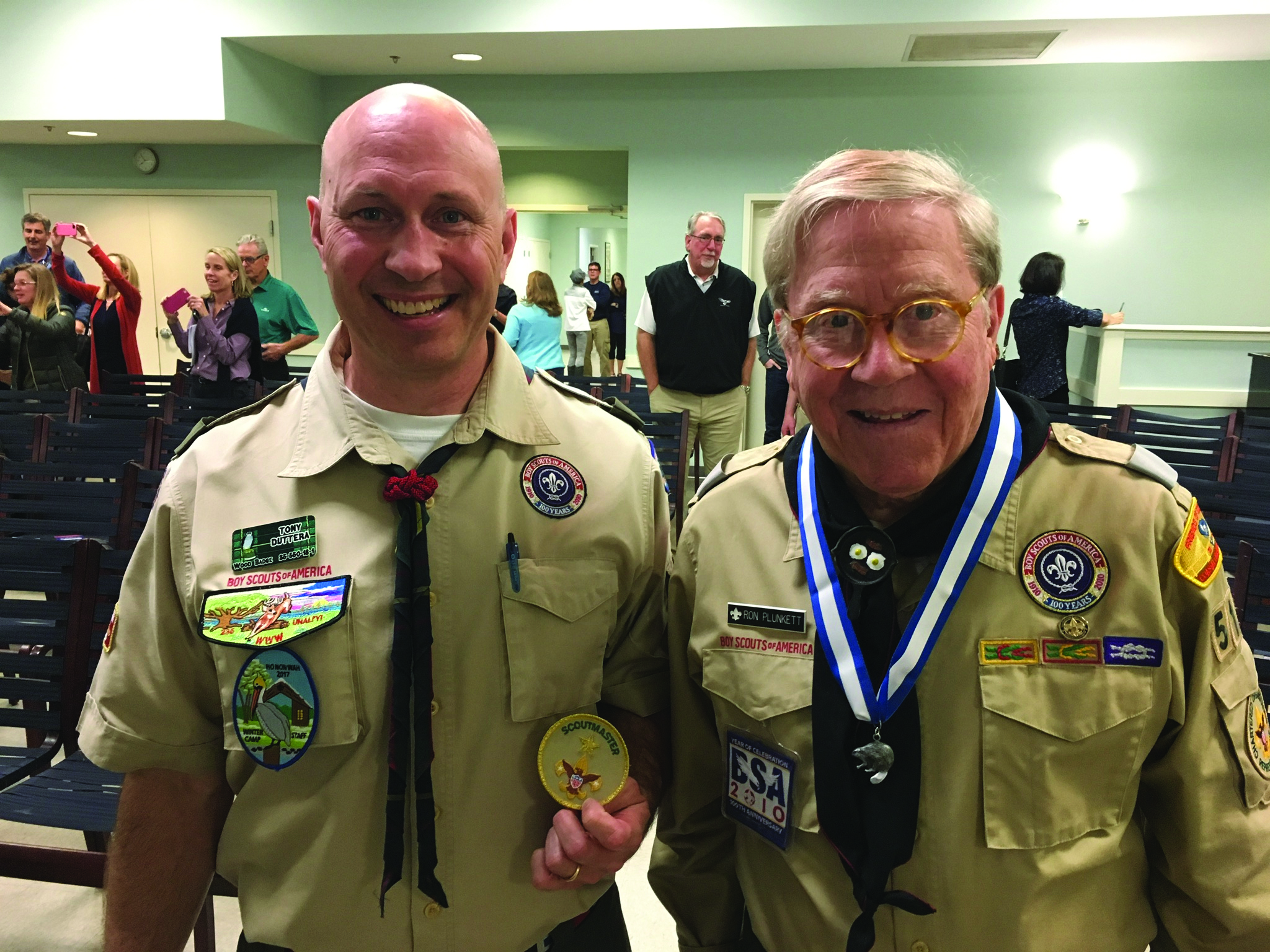 Two leaders in Boy Scout Troop 519 received special honors recently. Scoutmaster Tony Duttera (left) received the Unit Leader of Merit Award, which recognizes quality leadership as well as the promotion of a positive image of scouting in the community. Ron Plunkett (right), a Troop 519 chartered organization representative and committee member, received the Silver Beaver Award, an honor bestowed on those who demonstrate exceptional character and those who have provided distinguished service within a council.